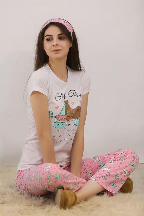 Baskılı Beyazpembe Pijama Takımı