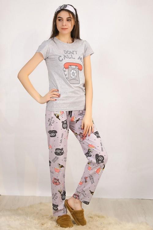 Gri Baskılı Pijama Takımı
