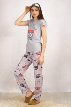 Baskılı Pijama Takımı Gri - 4697.102.