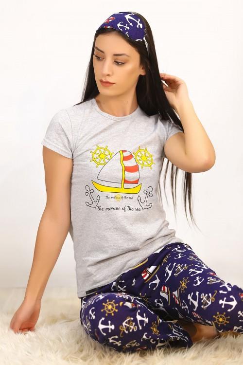 Baskılı GriLaci Pijama Takımı