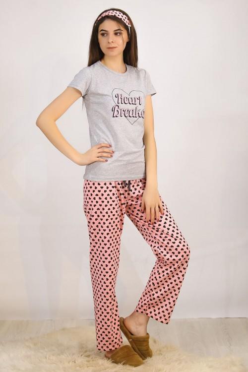 Baskılı Gri Pijama Takımı