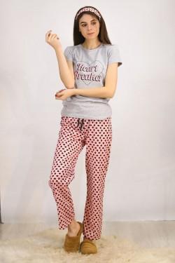 Baskılı Pijama Takımı Gri - 4712.102.