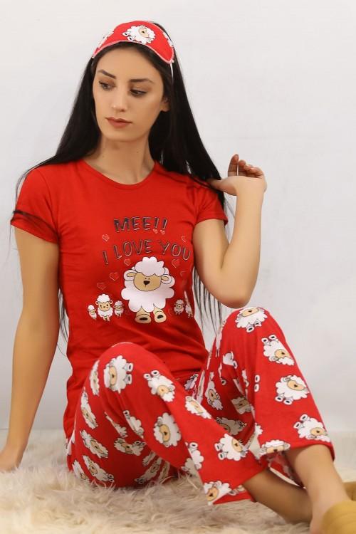 Kuzu Baskılı Kırmızı Pijama Takımı