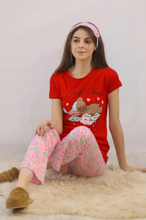 Kırmızı Baskılı Pijama Takımı