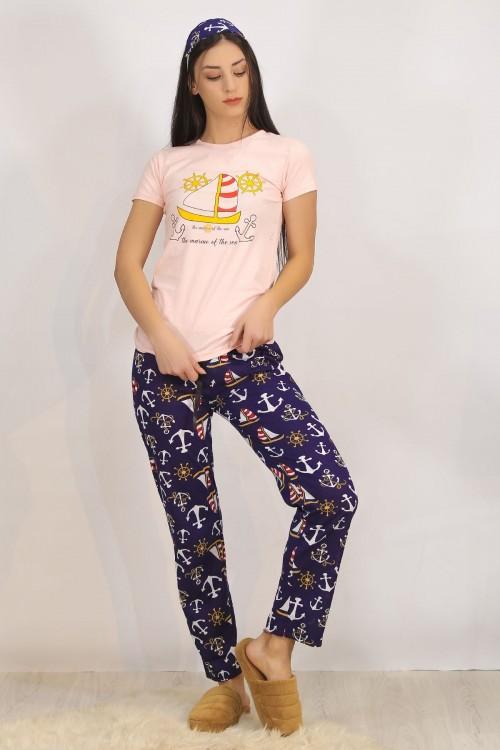 Baskılı Pembe Pijama Takımı