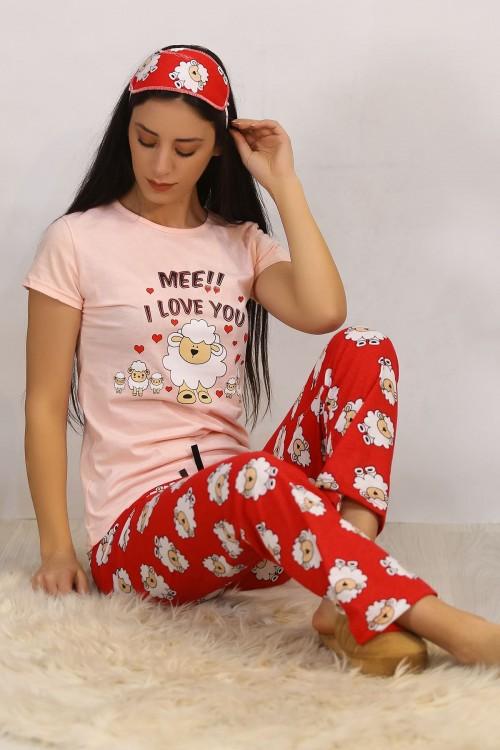 Kuzu Baskılı Pembe Pijama Takımı