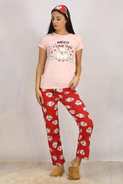 Baskılı Pijama Takımı Pembe - 4706.102.