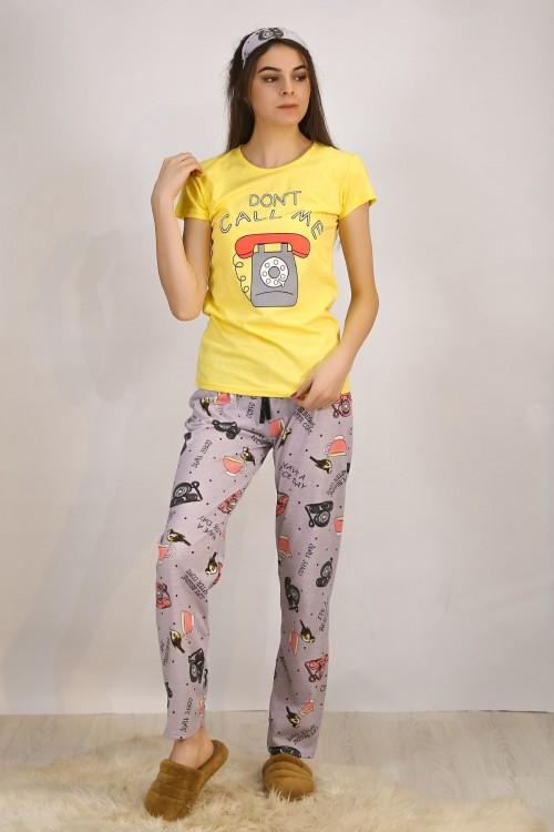 Baskılı Sarı Pijama Takımı