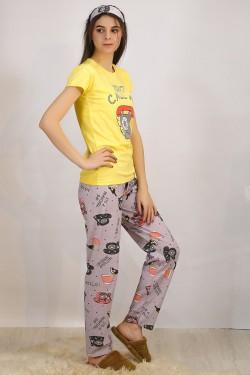 Baskılı Pijama Takımı Sarı - 4697.102.