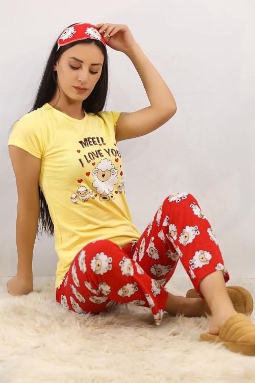 Kuzu Baskılı Sarı Pijama Takımı