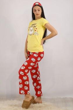Baskılı Pijama Takımı Sarı - 4706.102.