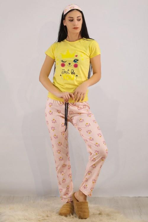 Sarı Baskılı Pijama Takımı