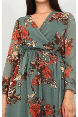 Çiçek Desenli Yeşil Şifon Elbise