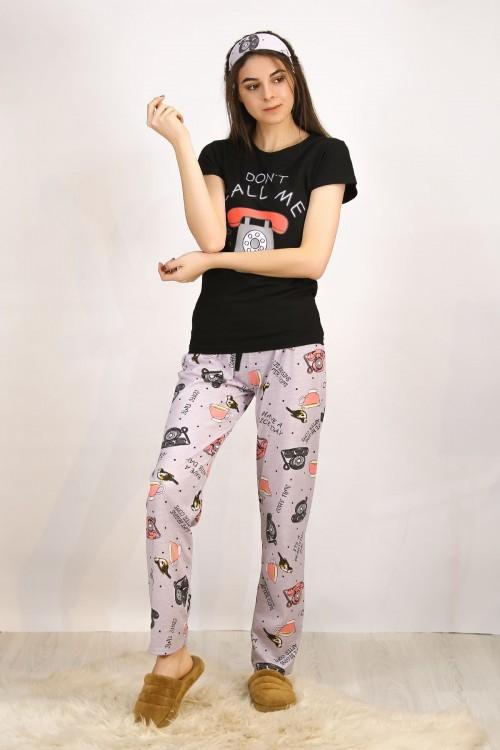 Baskılı Siyah Pijama Takımı