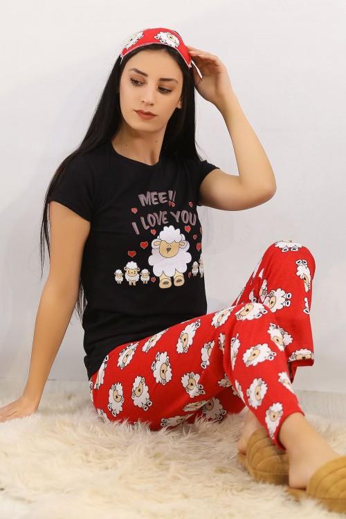 Siyahkırmızı Baskılı Pijama Takımı