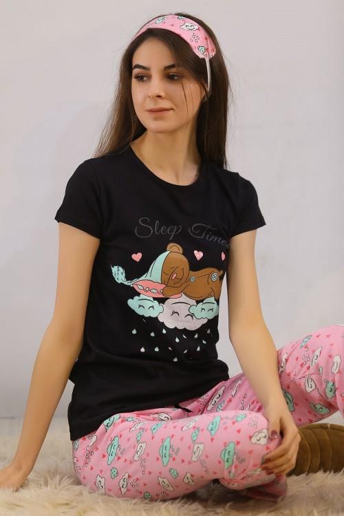 Siyahpembe Baskılı Pijama Takımı