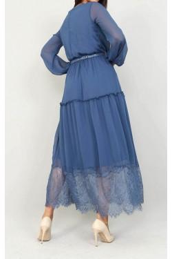 Etek Ucu Tül Mavi Şifon Elbise