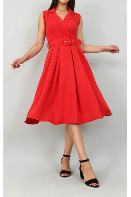 Kemerli Midi Boy Kırmızı Elbise