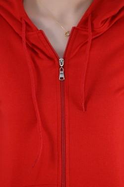 Kapşonlu Fermuarlı Sweat Kırmızı - 4378.1005.
