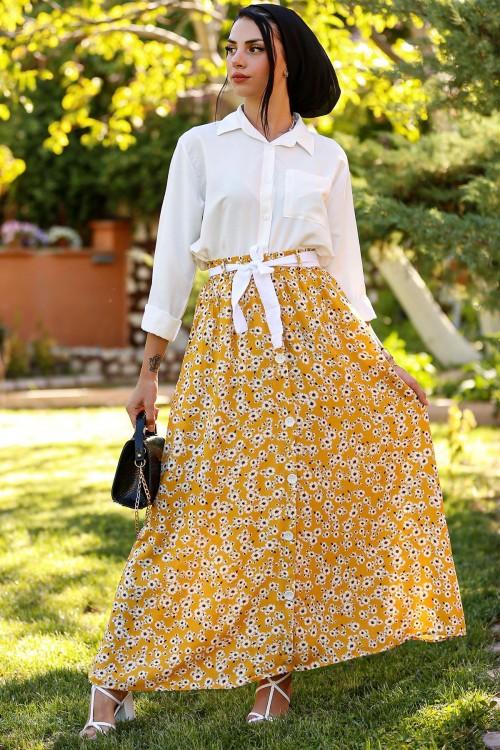 Sarı Çiçekli Kemerli Düğmeli Etek