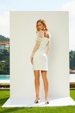 Krep Uzun Kol Beyaz Mini Elbise