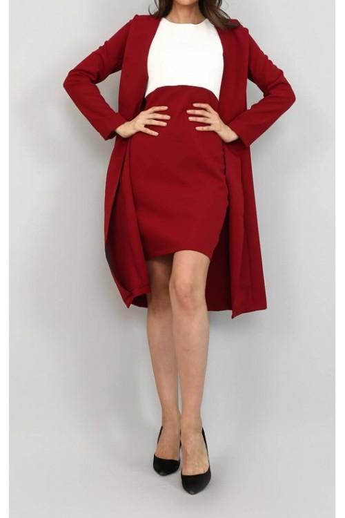 Bordo Ceket & Mini Elbise Takım