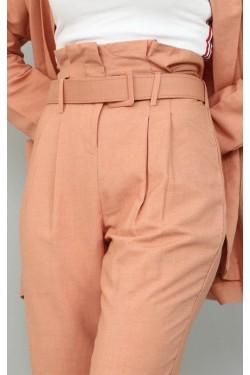 Kemerli Pudra Pantolon & Ceket Takım