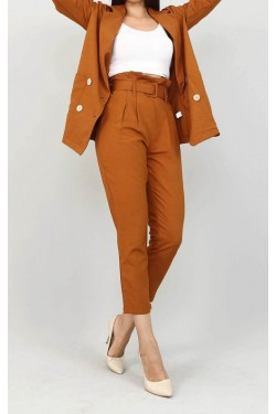 Kemerli Kiremit Pantolon & Ceket Takım