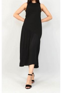 Saten Detay Eteği Asimetrik Siyah Yırtmaçlı Elbise