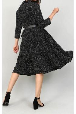 Siyah Puantiyeli Midi Elbise