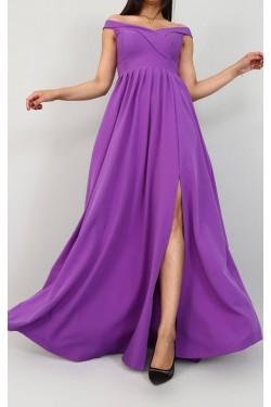 Yırtmaçlı Mor Renk Uzun Abiye Elbise