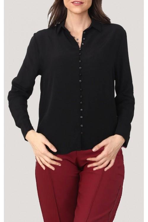 Düğme Detay Siyah Gömlek