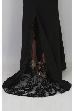 Kuyruğu Flog Baskı Tül Detaylı Siyah Abiye Elbise