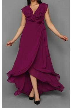 Mürdüm Fırfırlı Şifon Elbise