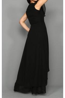 Siyah Fırfırlı Şifon Elbise