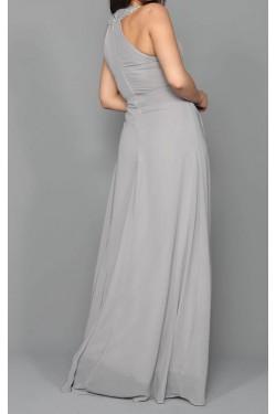 Gri Şifon Uzun Abiye Elbise