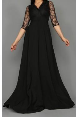 Siyah Kolları Güpür Uzun Abiye Elbise