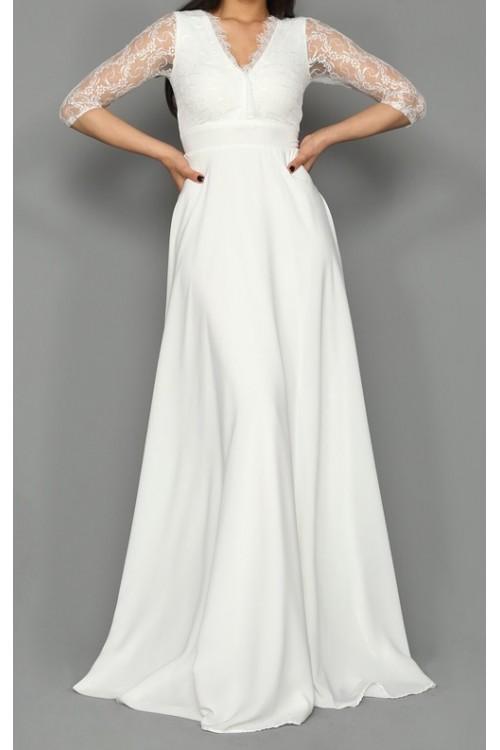 Beyaz Kolları Güpür Uzun Abiye Elbise