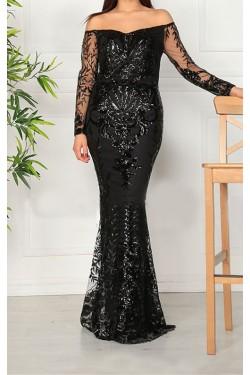 Siyah Açık Omuz Uzun Balık Abiye Elbise