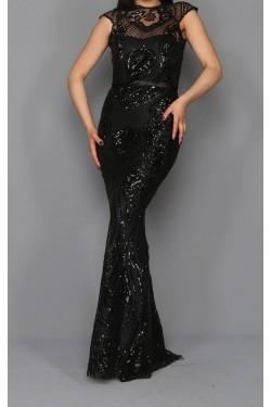 Pul Payet İşleme Siyah Balık Abiye Elbise