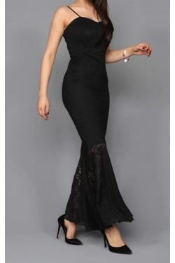 İp Askılı Siyah Balık Elbise