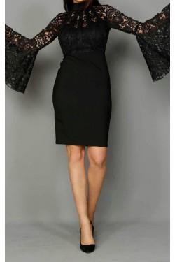 Volan Kol Güpür Detay Siyah Mini Abiye