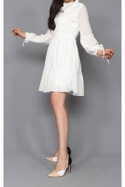 Puantiyeli Beyaz Mini Şifon Elbise