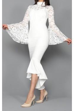 Volan Kol Güpür Detay Beyaz Midi Elbise