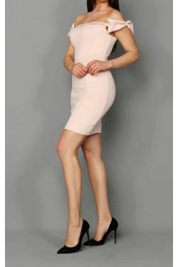 Fiyonk Omuz Detay Pudra Mini Elbise