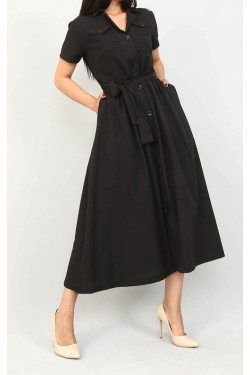 Siyah Kısa Kollu Gömlek Elbise