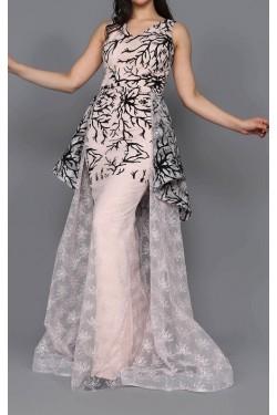 Tül Detay Purda Uzun Abiye Elbise