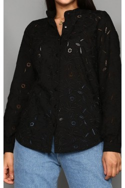 Delikli Siyah Gömlek