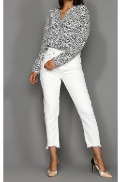 Desenli Beyaz & Siyah Gömlek