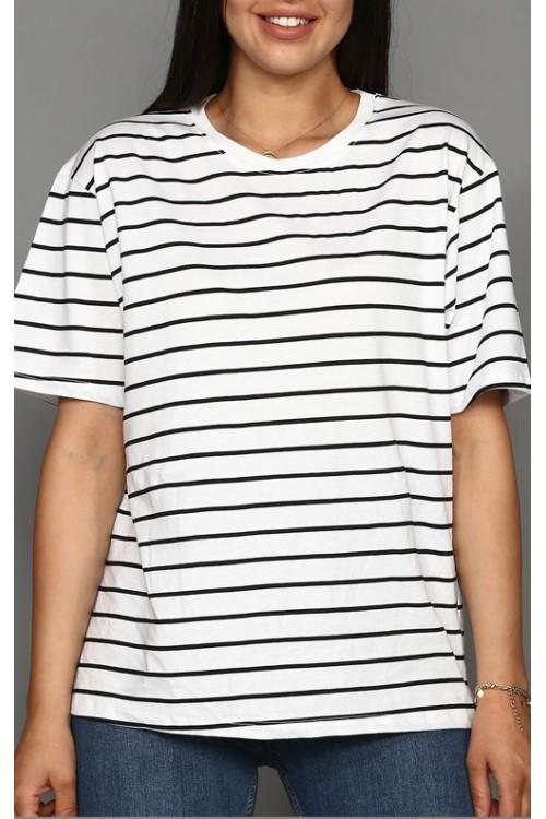 Çizgili Beyaz Kadın Tişört